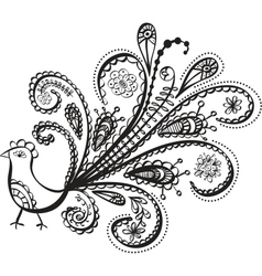 peacock bird line art vector image