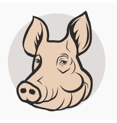 Pig head pork farm logo vector