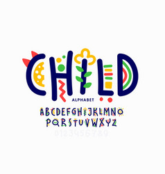 playful style childish font vector image