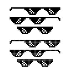 Popular meme pixel glasses set on white vector