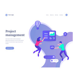 Project management concept workflow flying vector