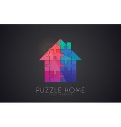Puzzle house logo home creative logo vector