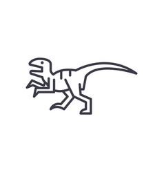 Raptor line icon sign on vector