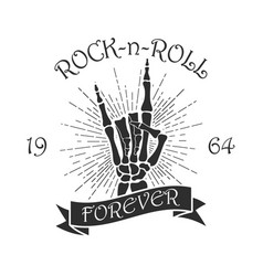Rock music print with skeleton hand vector