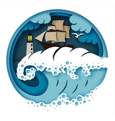 sailboat and raging sea vector image