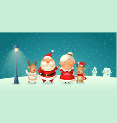 Santa claus his wife mrs claus and reindeer vector