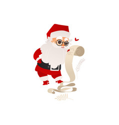 Santa claus studying list of christmas presents vector
