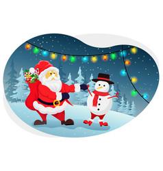 Santa giving christmas gifts vector