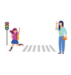 Schoolgirl crossing a road on her way to school vector