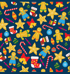 seamless christmas pattern with gingerbread vector image