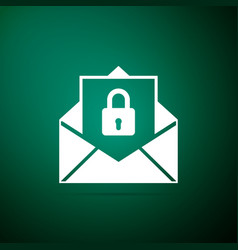 secure mail icon isolated on green background vector image