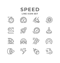 Set line icons of speed vector