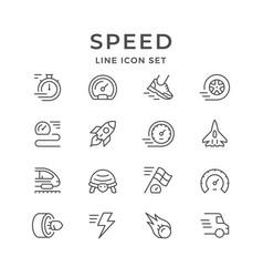 Set line icons speed vector