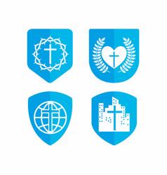Set of biblical logos for church vector