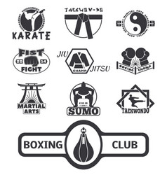 Set of cool fighting club emblems labels fight vector