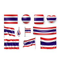 Set thailand flags banners banners symbols vector