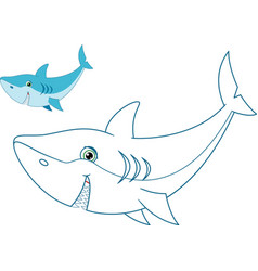 Shark coloring page vector
