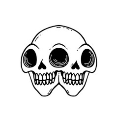 siamese twins tattoo with skull two headed vector image