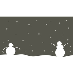 Silhouette of snowman winter scenery vector image