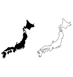simple only sharp corners map japan drawing vector image