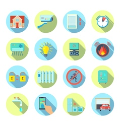 Smart House Round Icons Set vector image