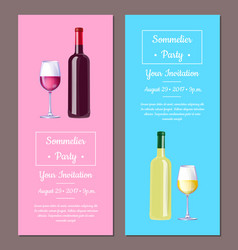Sommelier party invitation vector