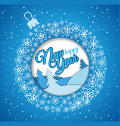 square blue greeting card christmas ball made of vector image
