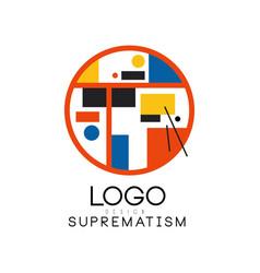 Suprematism logo modern geometric design element vector