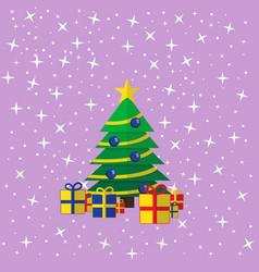 the decorated christmas tree with the presents vector image