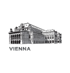 The sketch of State Opera House in Vienna vector