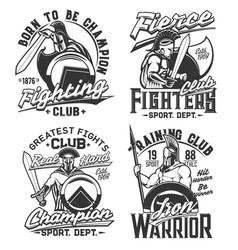 tshirt prints with gladiator warriors with swords vector image