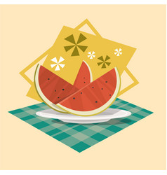 watermelon icon summer sea vacation concept vector image