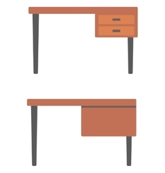 Wooden desk with drawers vector image