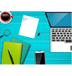 workplace office top view background vector image