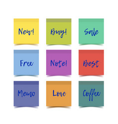 Color realistic sticky notes vector