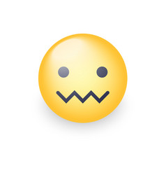confounded emoticon face zipper-mouth face vector image vector image