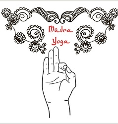 Element yoga mudra hands with mehendi patterns vector