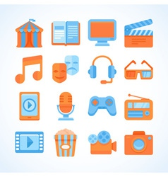 Flat icon set of entertainment symbols vector image