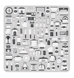 flat icons modern kitchen room set vector image