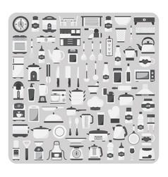 flat icons modern kitchen room set vector image vector image