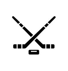 hockey icon black sign on vector image