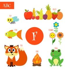 Letter F Cartoon alphabet for children Flower fox vector image