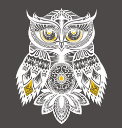 owl decorative design for t shirt print vector image