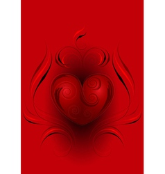 Red heart with decor on red background vector image vector image