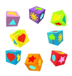 Set of 3D colorful childish play cubes vector image