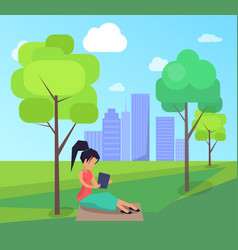 work on fresh air banner woman with laptop vector image