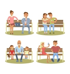 People are sitting on a bench vector image