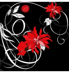 red flowers on black background vector image vector image