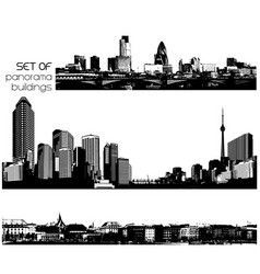 set of black and white cityscapes with skyscrapers vector image vector image