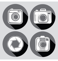 set of hipster cameras or web icons with long vector image vector image